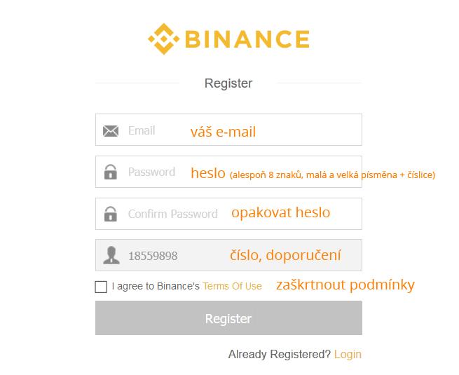 1. krok registrace BINANCE, přihlašovací údaje.